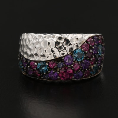 SeidenGang Sterling Silver Ring with Garnet, Topaz and Amethyst
