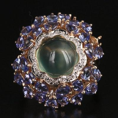 14K Prehnite, Tanzanite and Diamond Cluster Ring