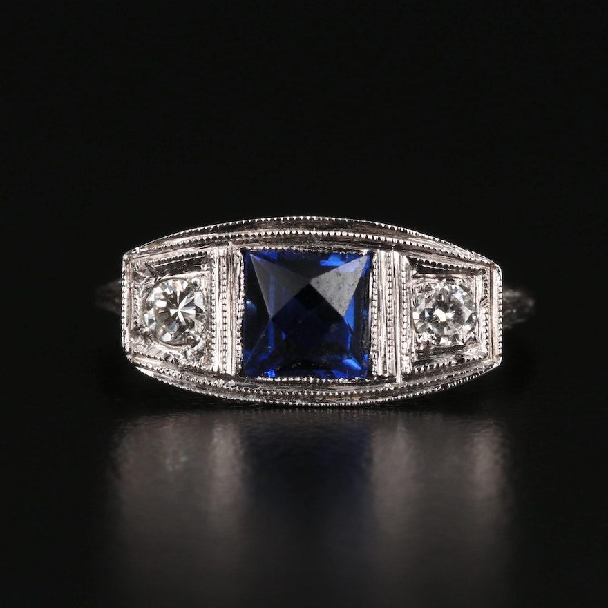 Art Deco Reproduction 14K Sapphire and Diamond Ring