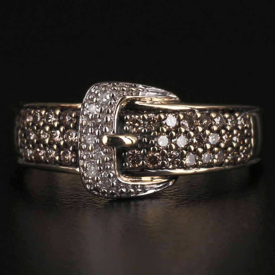 14K Diamond Buckle Ring