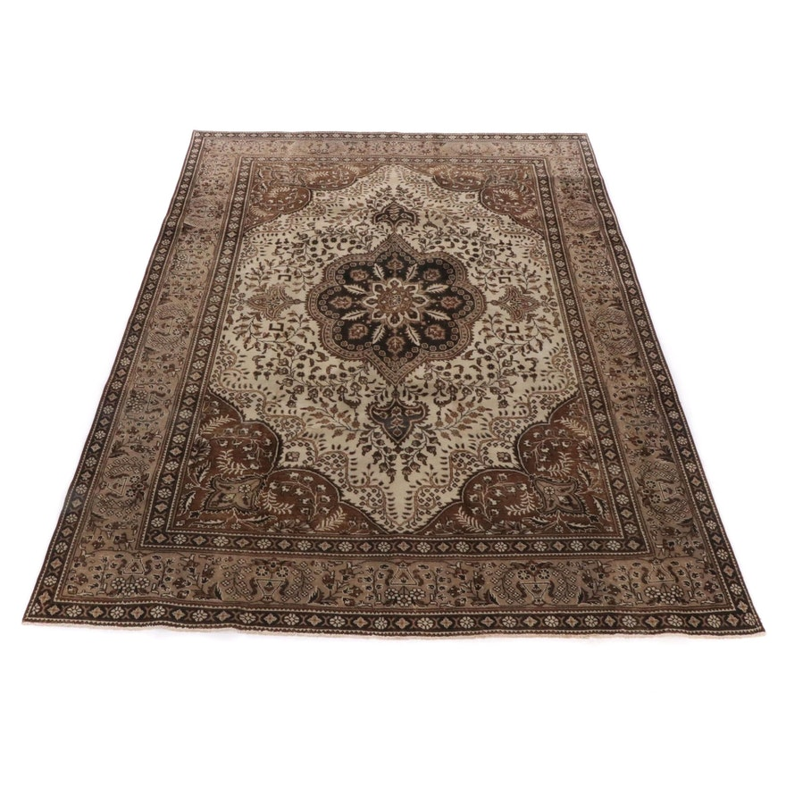 8'5 x 11'2 Hand-Knotted Persian Tabriz Room Sized Rug, Mid to Late 20th Century