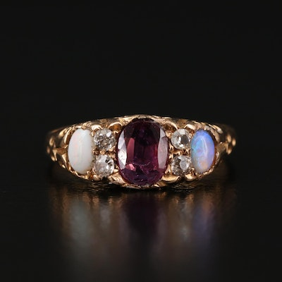Victorian 18K Ruby and Opal Ring with Diamond Accents
