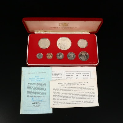 1978 Coinage of Liberia Proof Coin Set From The Franklin Mint