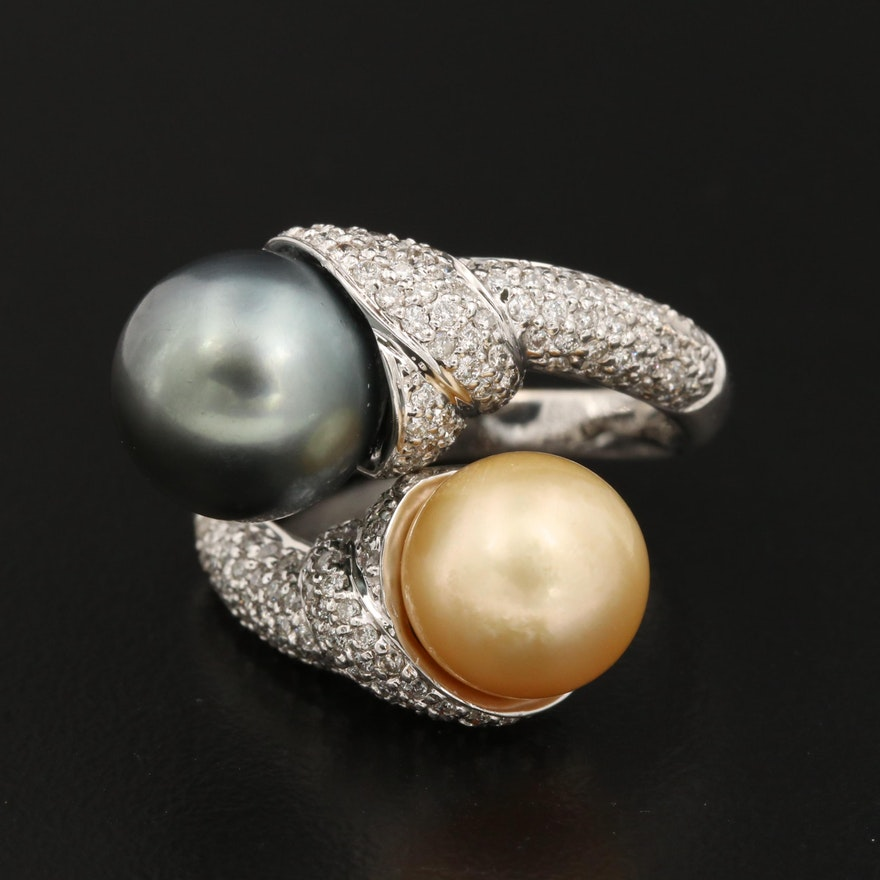 Sonia B. 18K Pearl and 1.04 CTW Diamond Bypass Ring