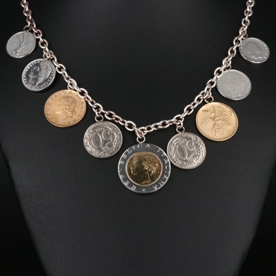 Sterling Station Necklace with Modern Italian Coins