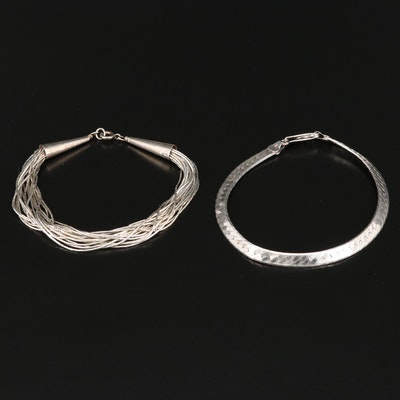 Sterling Herringbone and Liquid Silver Bracelets
