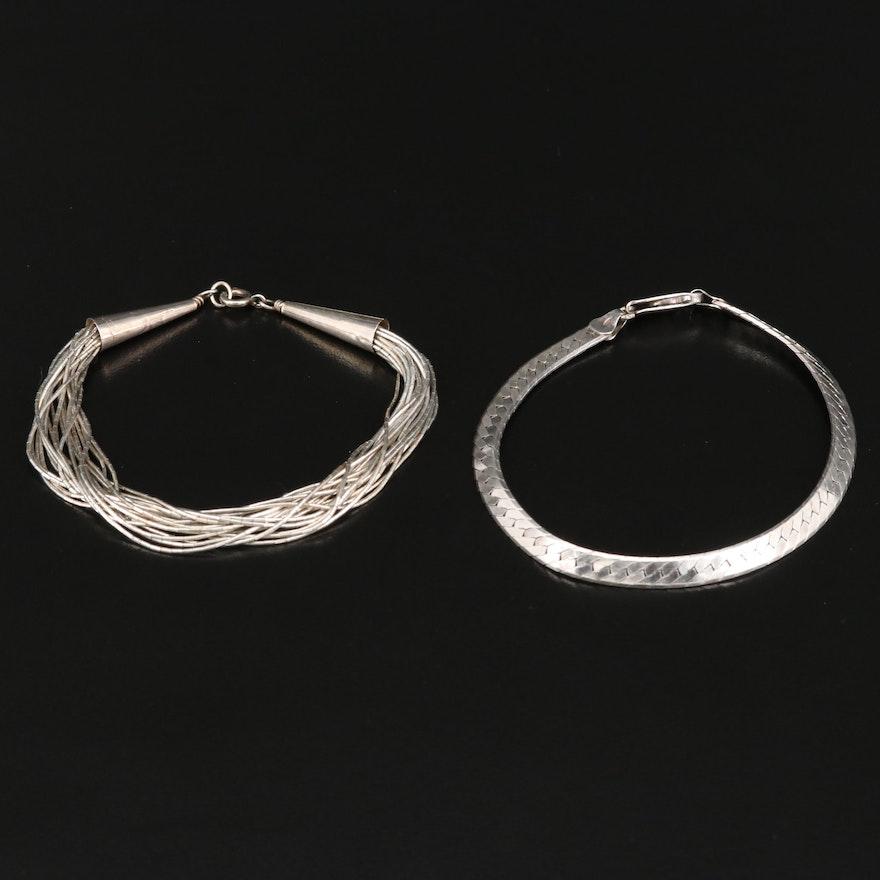 Sterling Herringbone and Liquid Silver Bracelets