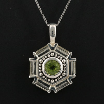 Sterling Peridot and Topaz Pendant Necklace
