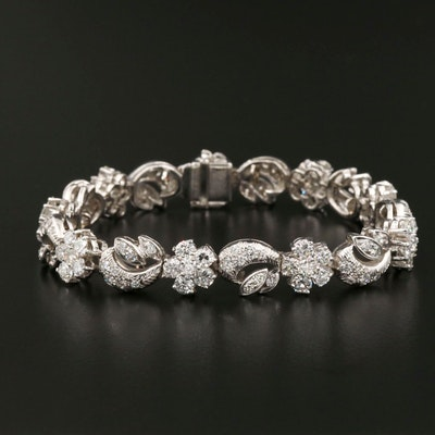 Platinum 10.20 CTW Diamond Floral and Foliate Link Bracelet