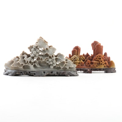 Carved Onyx Sculptures of Asian Mountain Village and Grape Vine Motif