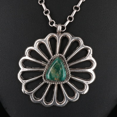 Sterling Silver Turquoise Floral Pendant Necklace