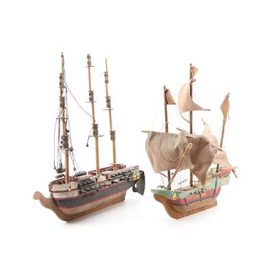 Bench Made Wooden European 18th/19th C. Fleet Ships, Mid-20th Century