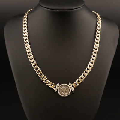 Sterling Silver Cub Chain Necklace with Reproduction Roman Denarius Coin