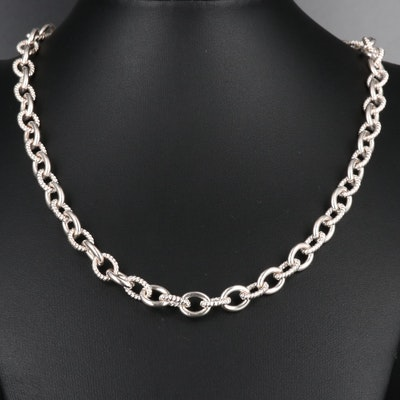 Judith Ripka Sterling Cable Chain Necklace with Cubic Zirconia Heart Clasp