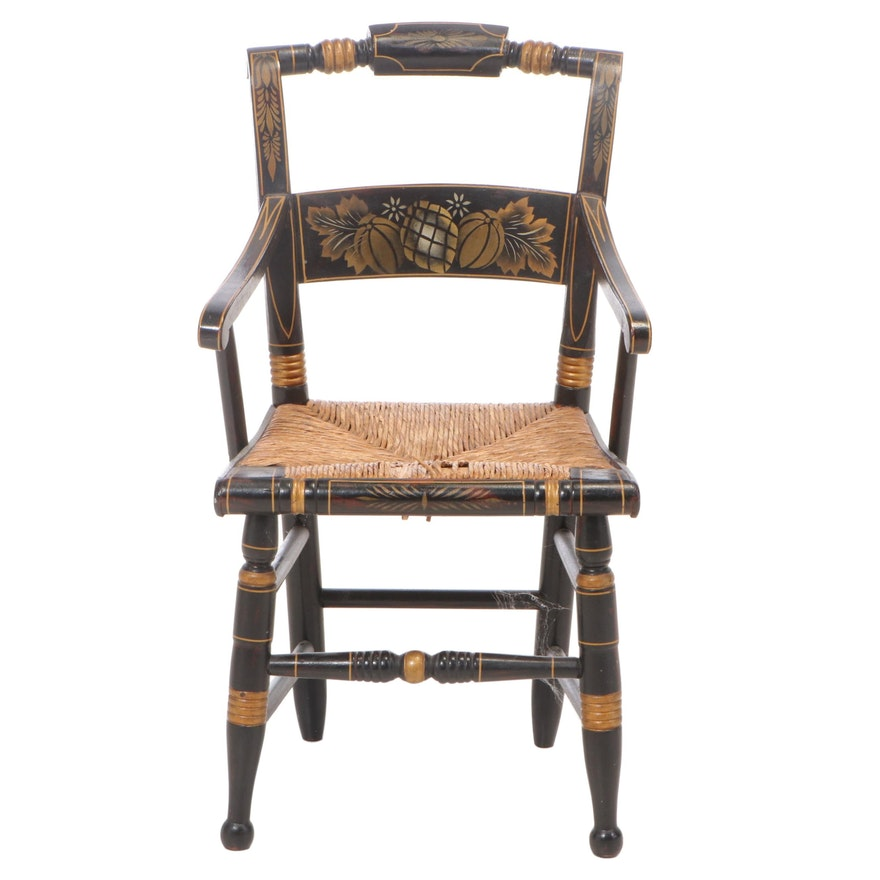 """American Grain-Painted and Gilt-Stenciled Child's """"Fancy"""" Armchair, 19th Century"""