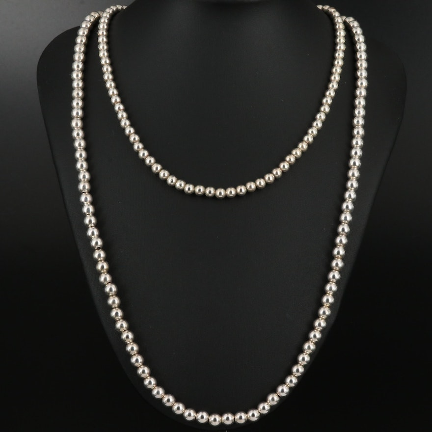 Sterling Silver Bead Necklaces