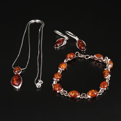 Sterling Silver Amber Jewelry Set
