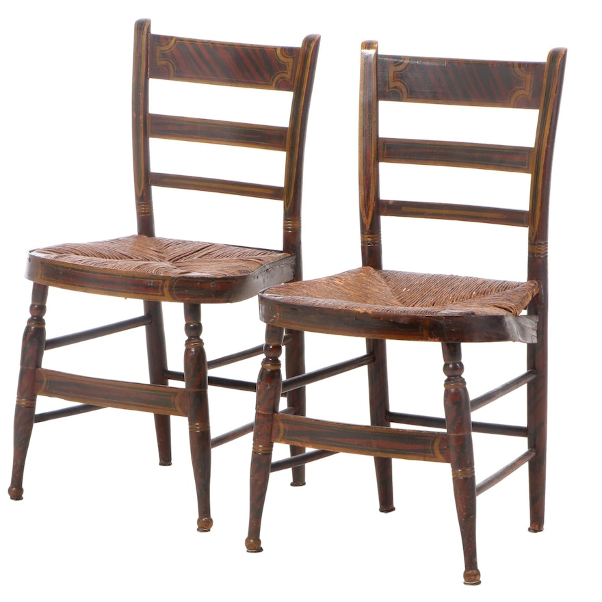 """Pair of American Grain-Painted and Parcel-Gilt """"Fancy"""" Side Chairs, 19th Century"""
