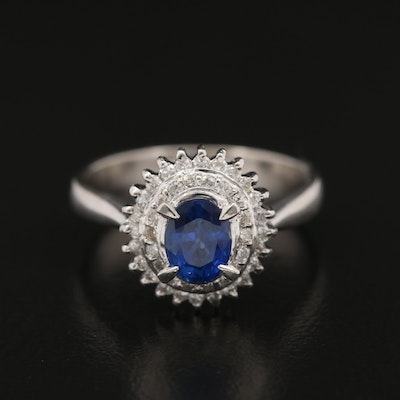 Platinum Sapphire and Diamond Double Halo Ring