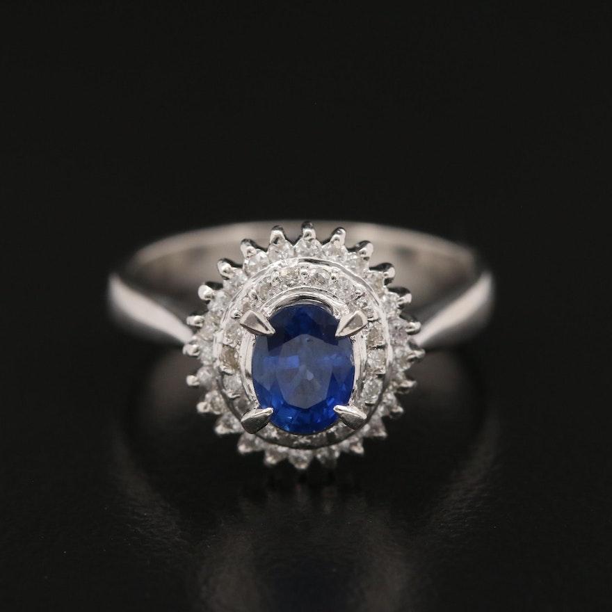 Platinum Sapphire and Diamond Double Halo Ring