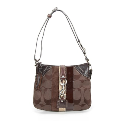 Coach Brown Leather, Suede, Canvas and Snakeskin Print Shoulder Bag