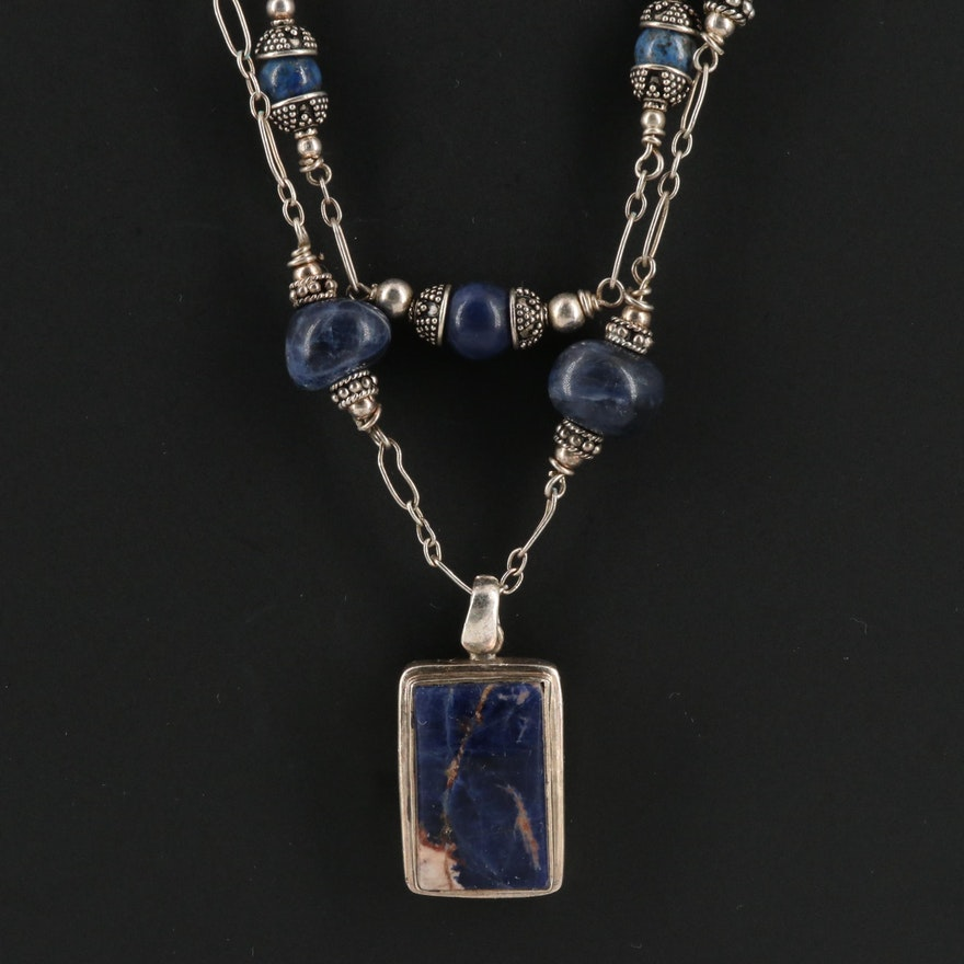 Sterling Silver Sodalite Double Strand Necklace