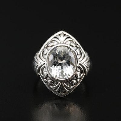 Sterling Silver Topaz Scrollwork Ring
