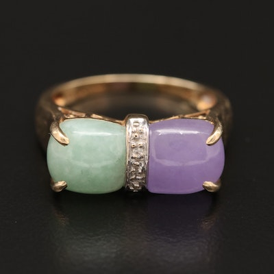 Vintage 14K Jadeite and Diamond Ring
