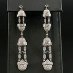 Platinum 3.00 CTW Diamond and Sapphire Dangle Earrings