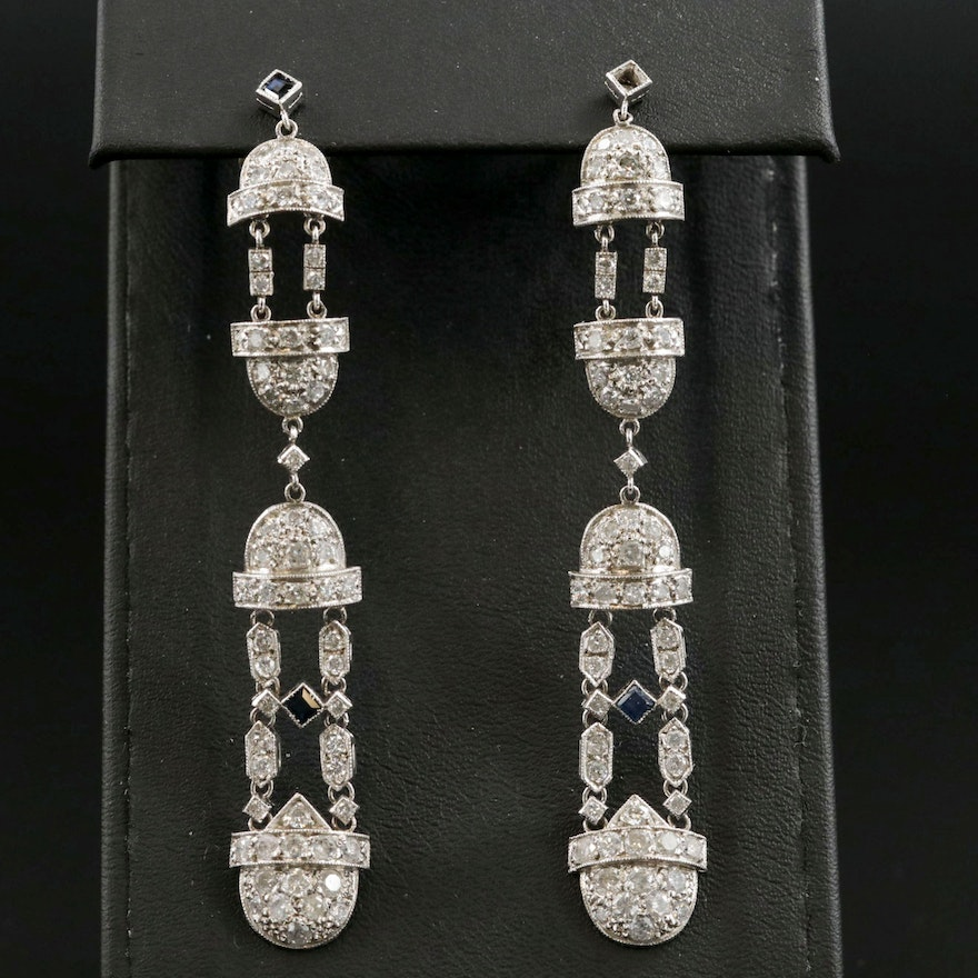 Platinum 3.00 CTW Diamond and Sapphire Dangle Earrings