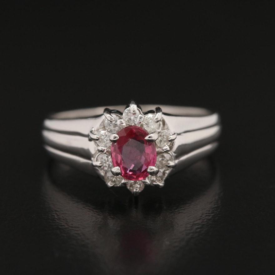 Platinum Ruby and Diamond Halo Ring