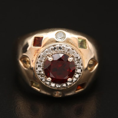 Sterling Silver Garnet, Citrine and Diamond Ring