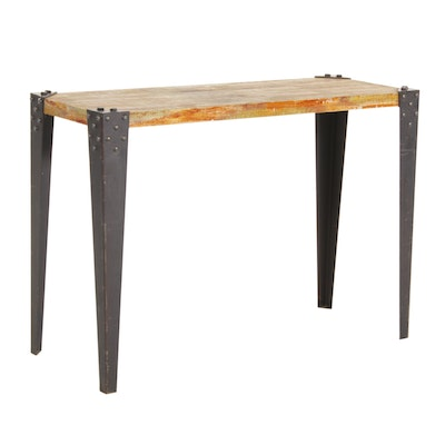Industrial Style Metal and Wood Hall Table