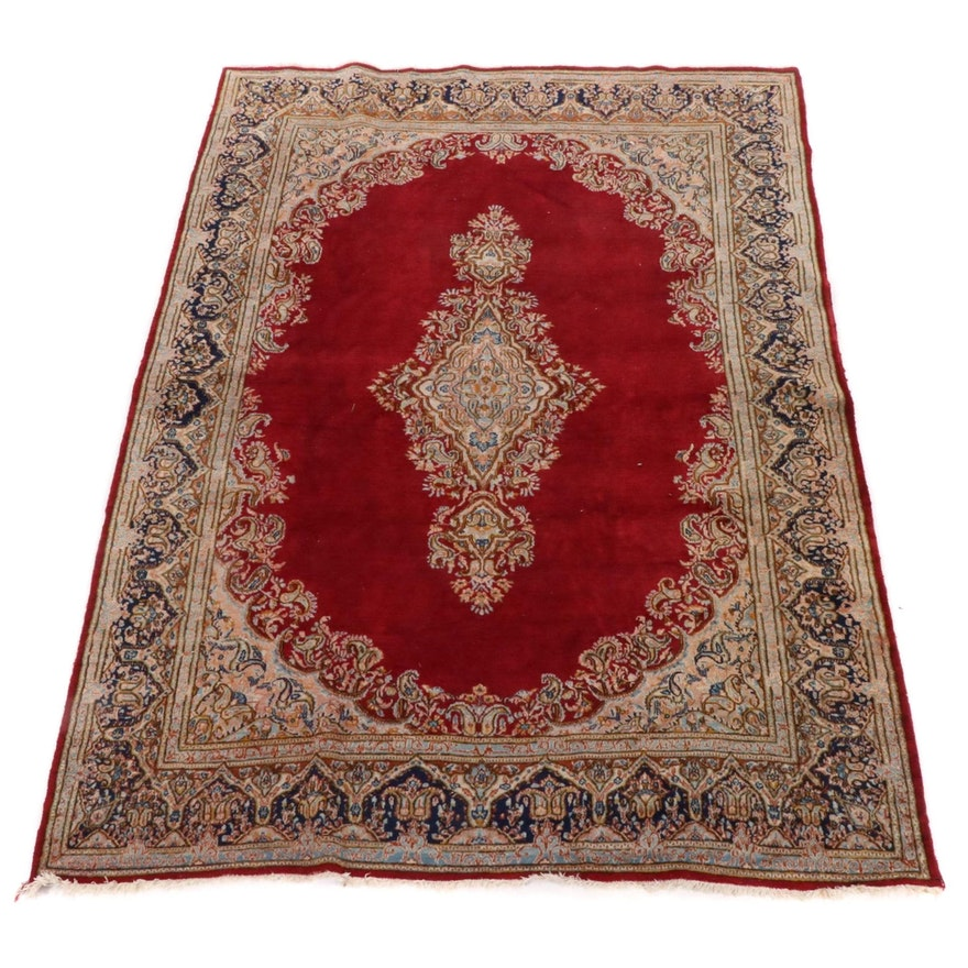 6'11 x 9'10 Hand-Knotted Persian Kirman Rug, Vintage