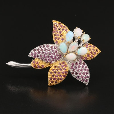 Sterling Silver Opal and Garnet Flower Brooch