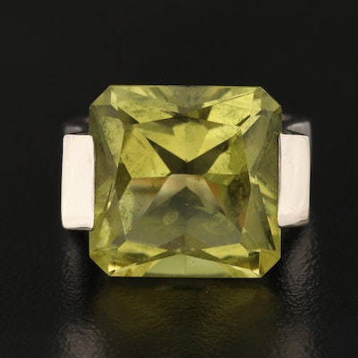 Sterling Silver Lime Quartz and Diamond Ring