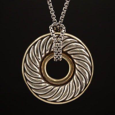David Yurman Sterling Silver Necklace with 18K Accents
