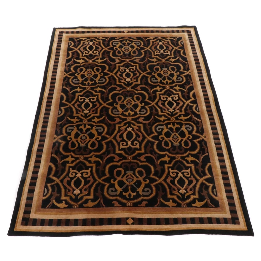 6' x 8'11 Hand-Knotted Sino-Tibetan Sculpted Wool Area Rug
