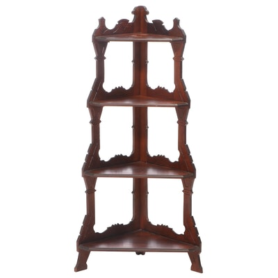 Victorian Walnut Four-Tier Corner Shelf, Late 19th Century