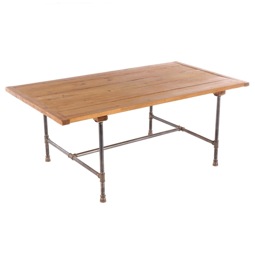 Industrial Style Pine Plank Dining Table on Threaded Pipe Base