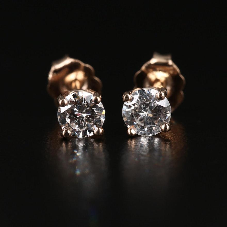 14K Gold 0.74 CTW Diamond Stud Earrings