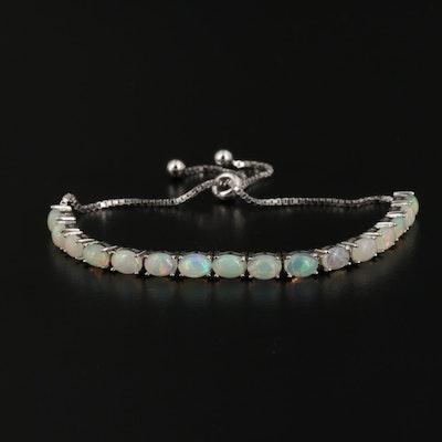 Sterling Silver Opal Link Bolo Bracelet