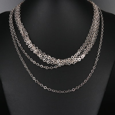Sterling Silver Seven Strand Chain Necklace
