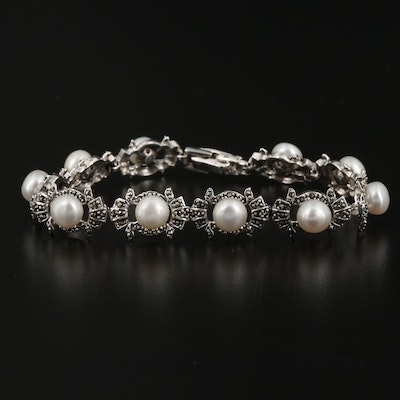 Sterling Silver Marcasite and Pearl Link Bracelet