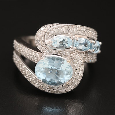 14K Aquamarine and Diamond Bypass Ring