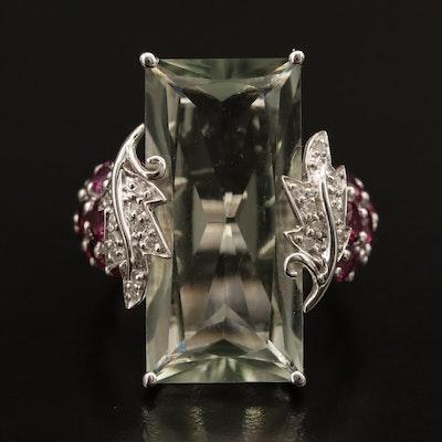 Sterling Prasiolite and Garnet Ring with Diamond Leaf Motif