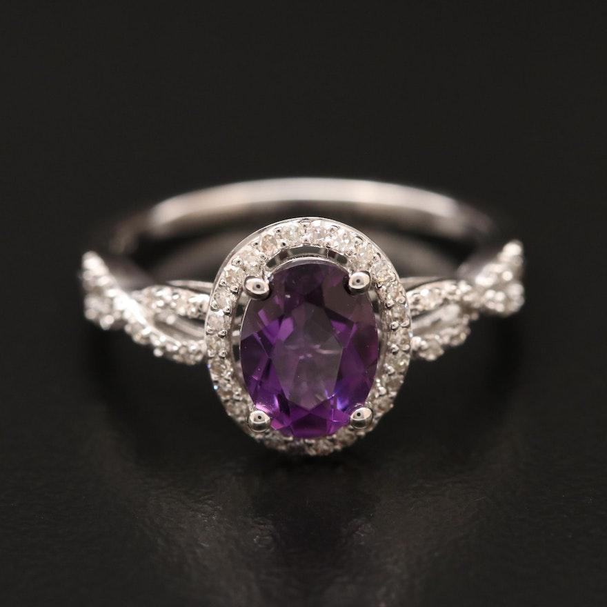 14K Amethyst and Diamond Ring