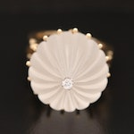 14K Fluted Quartz Cabochon Ring with Diamond Accent