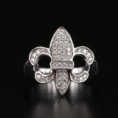 Sterling Silver Cubic Zirconia Fleur-de-lis Ring