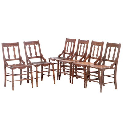 Six Victorian Walnut and Burl Walnut Side Chairs, Late 19th Century
